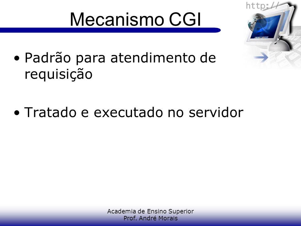 Academia de Ensino Superior Prof. André Morais Mecanismo CGI Padrão para atendimento de requisição Tratado e executado no servidor