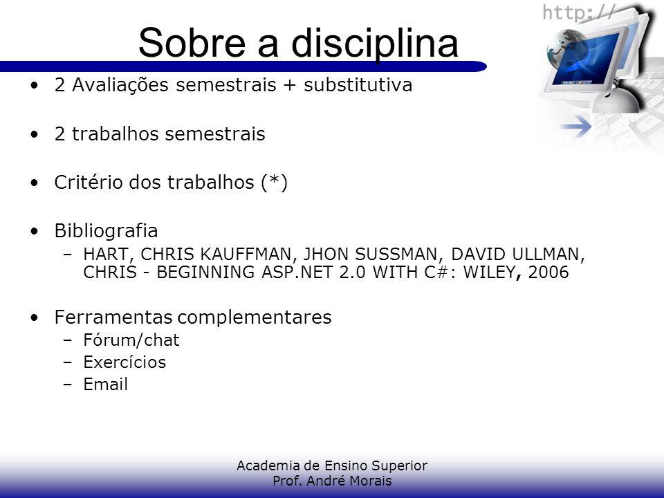 Academia de Ensino Superior Prof. André Morais Sobre a disciplina 2 Avaliações semestrais + substitutiva 2 trabalhos semestrais Critério dos trabalhos