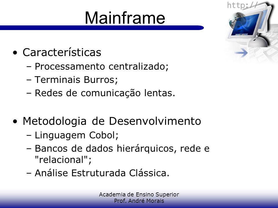 Academia de Ensino Superior Prof. André Morais Mainframe Características –Processamento centralizado; –Terminais Burros; –Redes de comunicação lentas.