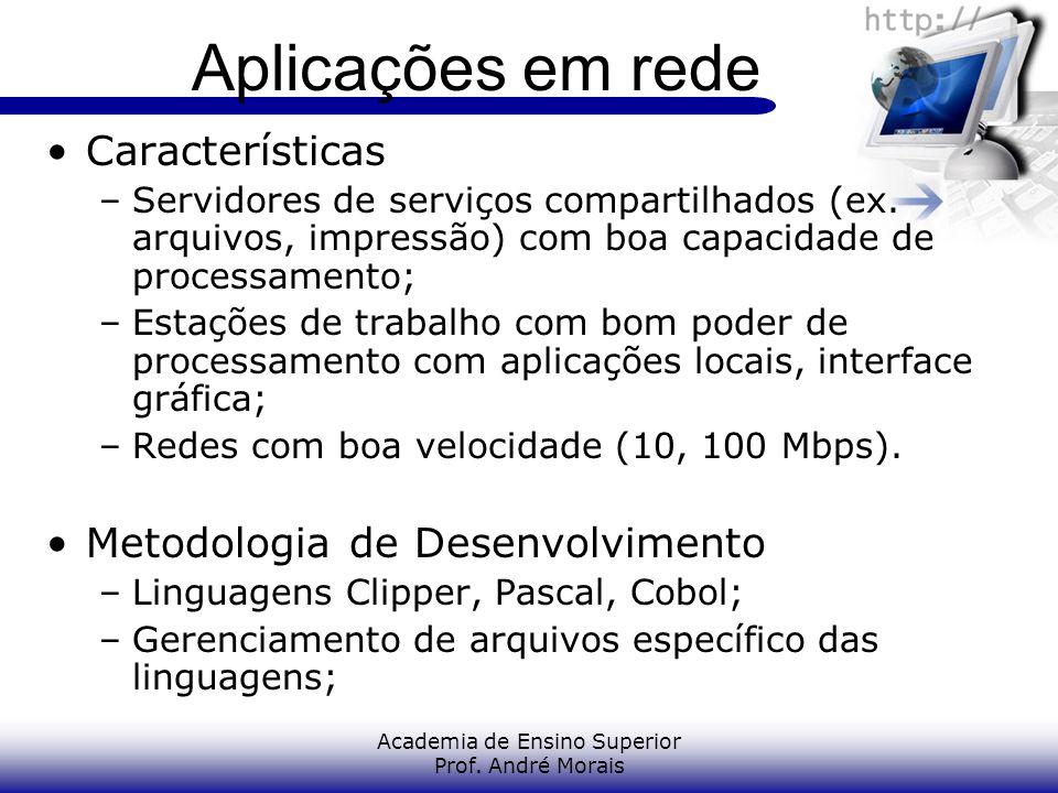 Academia de Ensino Superior Prof. André Morais Aplicações em rede Características –Servidores de serviços compartilhados (ex. arquivos, impressão) com