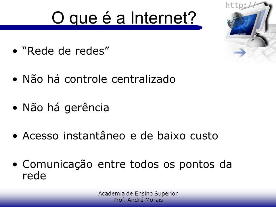 Academia de Ensino Superior Prof. André Morais O que é a Internet? Rede de redes Não há controle centralizado Não há gerência Acesso instantâneo e de