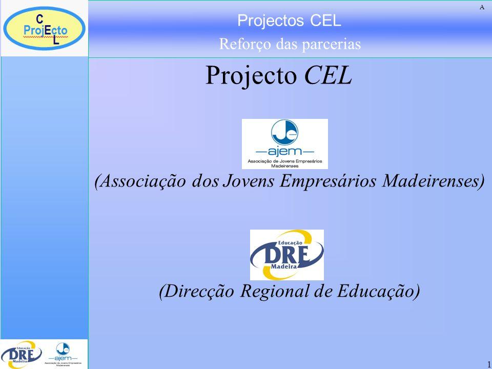 Projectos CEL Reforço das parcerias 1 AJEM (Associação dos Jovens Empresários Madeirenses) DRE (Direcção Regional de Educação) Projecto CEL A