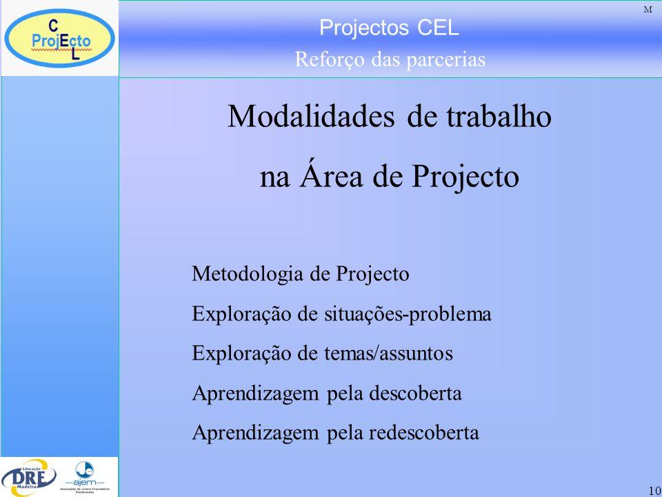 Projectos CEL Reforço das parcerias 10 Modalidades de trabalho na Área de Projecto Metodologia de Projecto Exploração de situações-problema Exploração