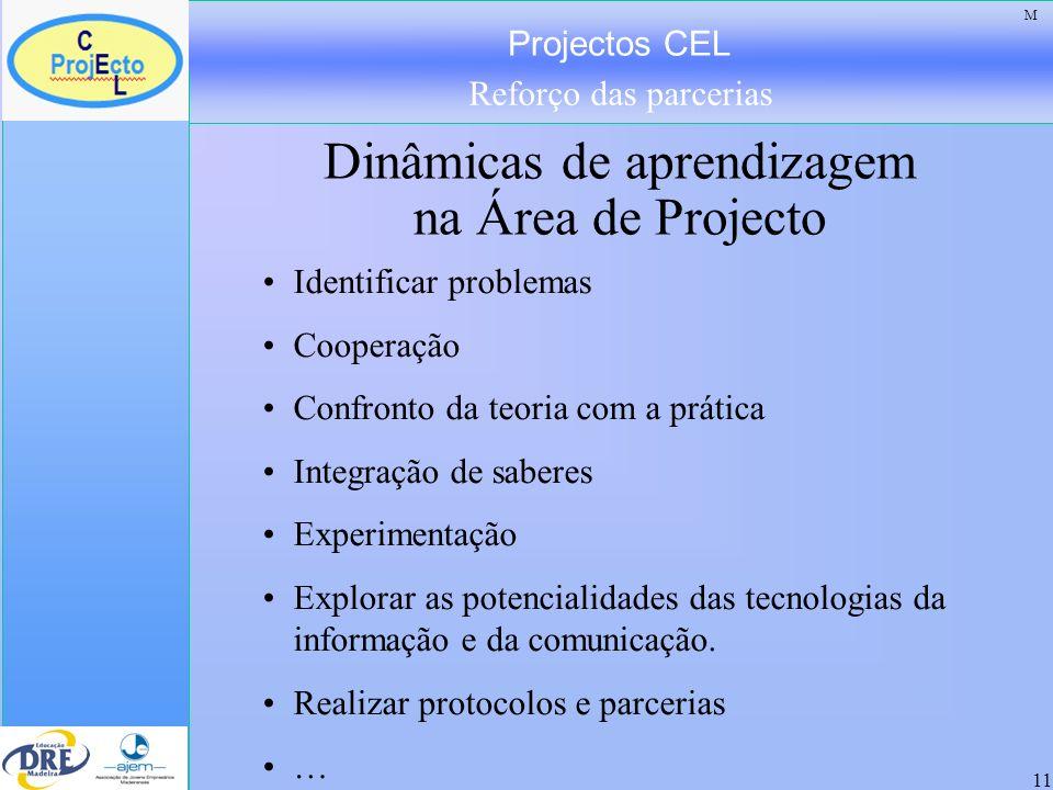 Projectos CEL Reforço das parcerias 11 Dinâmicas de aprendizagem na Área de Projecto Identificar problemas Cooperação Confronto da teoria com a prátic