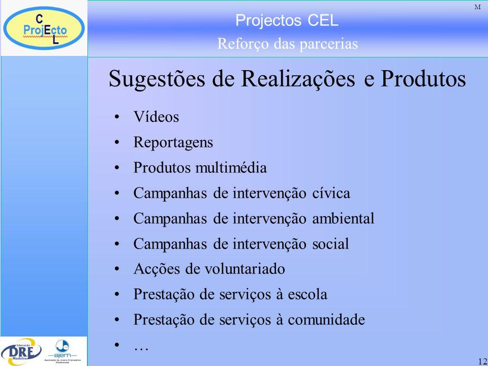 Projectos CEL Reforço das parcerias 12 Sugestões de Realizações e Produtos Vídeos Reportagens Produtos multimédia Campanhas de intervenção cívica Camp