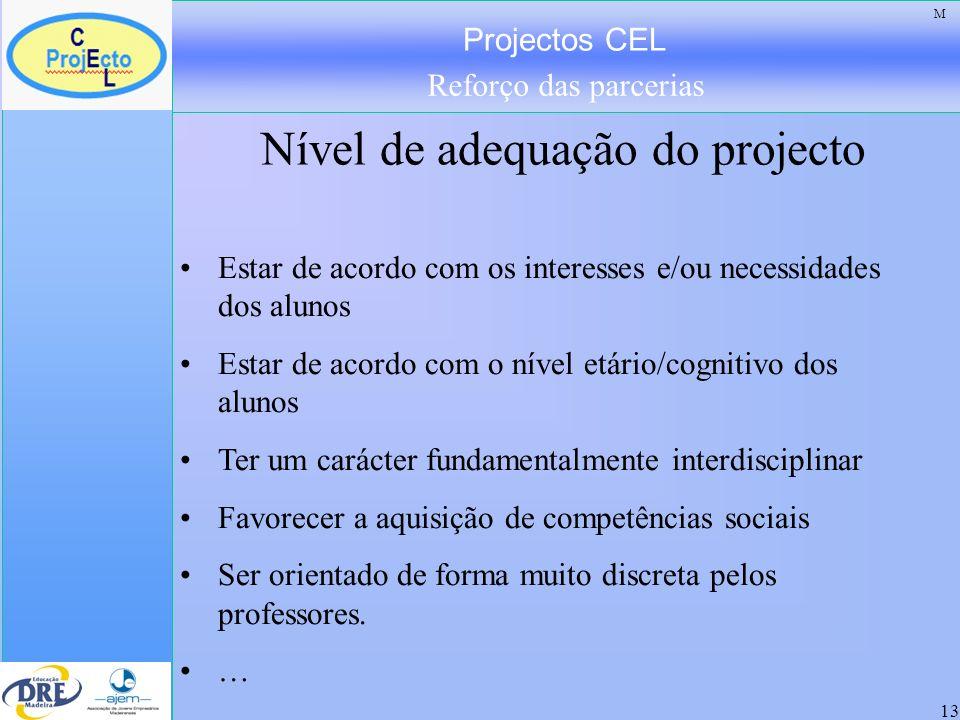 Projectos CEL Reforço das parcerias 13 Nível de adequação do projecto Estar de acordo com os interesses e/ou necessidades dos alunos Estar de acordo c