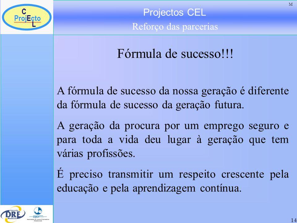 Projectos CEL Reforço das parcerias 14 A fórmula de sucesso da nossa geração é diferente da fórmula de sucesso da geração futura. A geração da procura