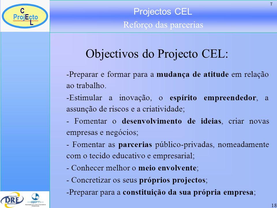 Projectos CEL Reforço das parcerias 18 Objectivos do Projecto CEL: -Preparar e formar para a mudança de atitude em relação ao trabalho. -Estimular a i