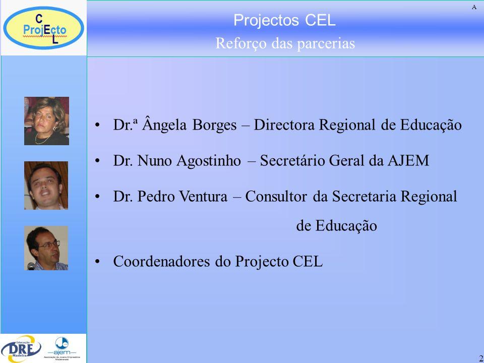 Projectos CEL Reforço das parcerias 2 Dr.ª Ângela Borges – Directora Regional de Educação Dr. Nuno Agostinho – Secretário Geral da AJEM Dr. Pedro Vent