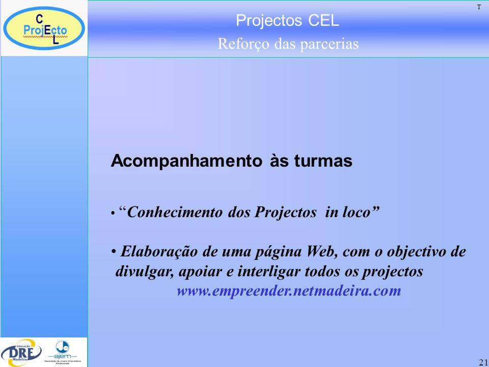 Projectos CEL Reforço das parcerias 21 Acompanhamento às turmas Conhecimento dos Projectos in loco Elaboração de uma página Web, com o objectivo de di