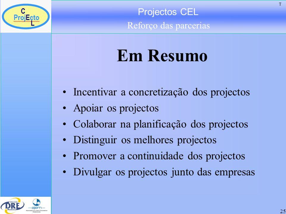 Projectos CEL Reforço das parcerias 25 Em Resumo Incentivar a concretização dos projectos Apoiar os projectos Colaborar na planificação dos projectos