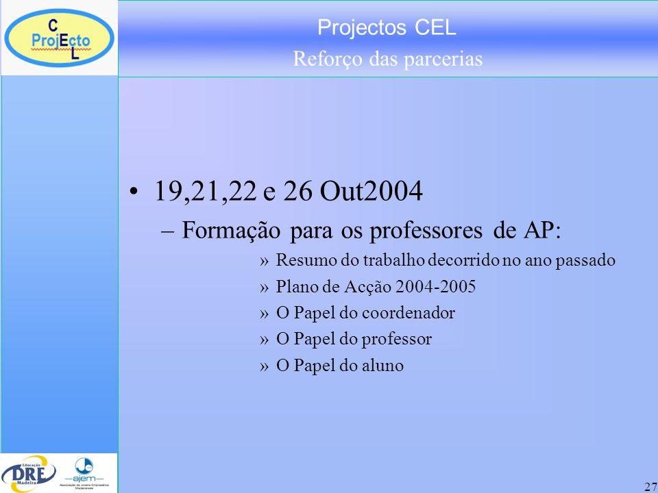 Projectos CEL Reforço das parcerias 27 19,21,22 e 26 Out2004 –Formação para os professores de AP: »Resumo do trabalho decorrido no ano passado »Plano