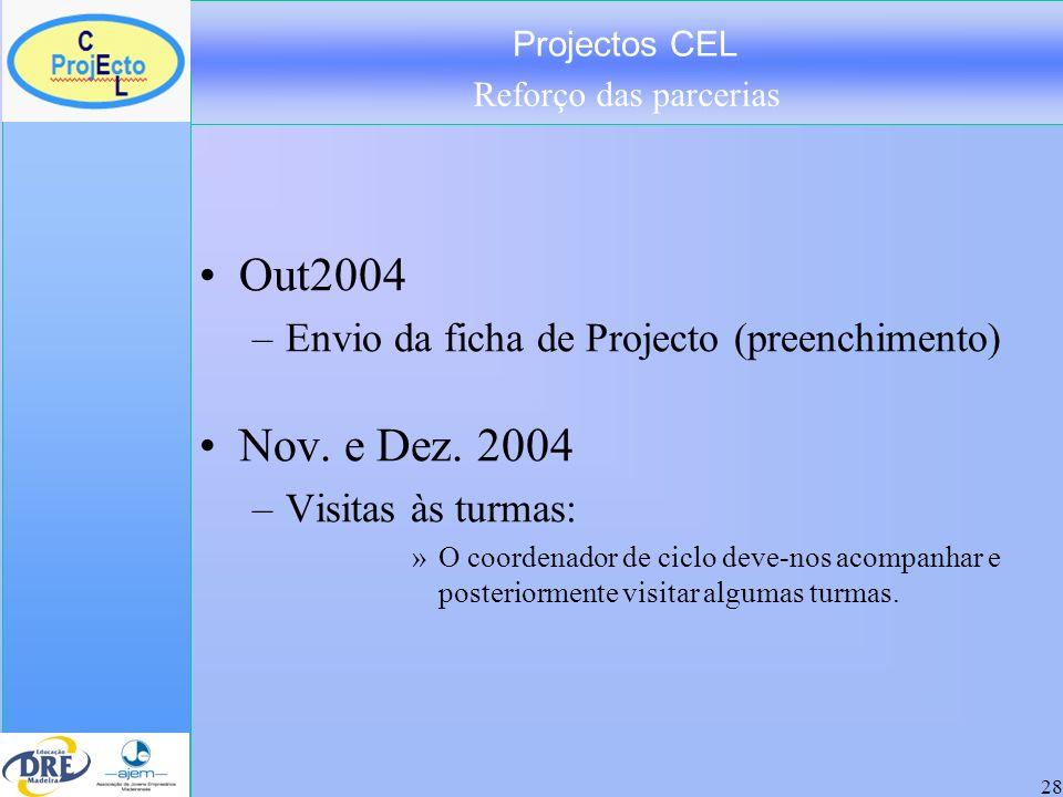 Projectos CEL Reforço das parcerias 28 Out2004 –Envio da ficha de Projecto (preenchimento) Nov. e Dez. 2004 –Visitas às turmas: »O coordenador de cicl