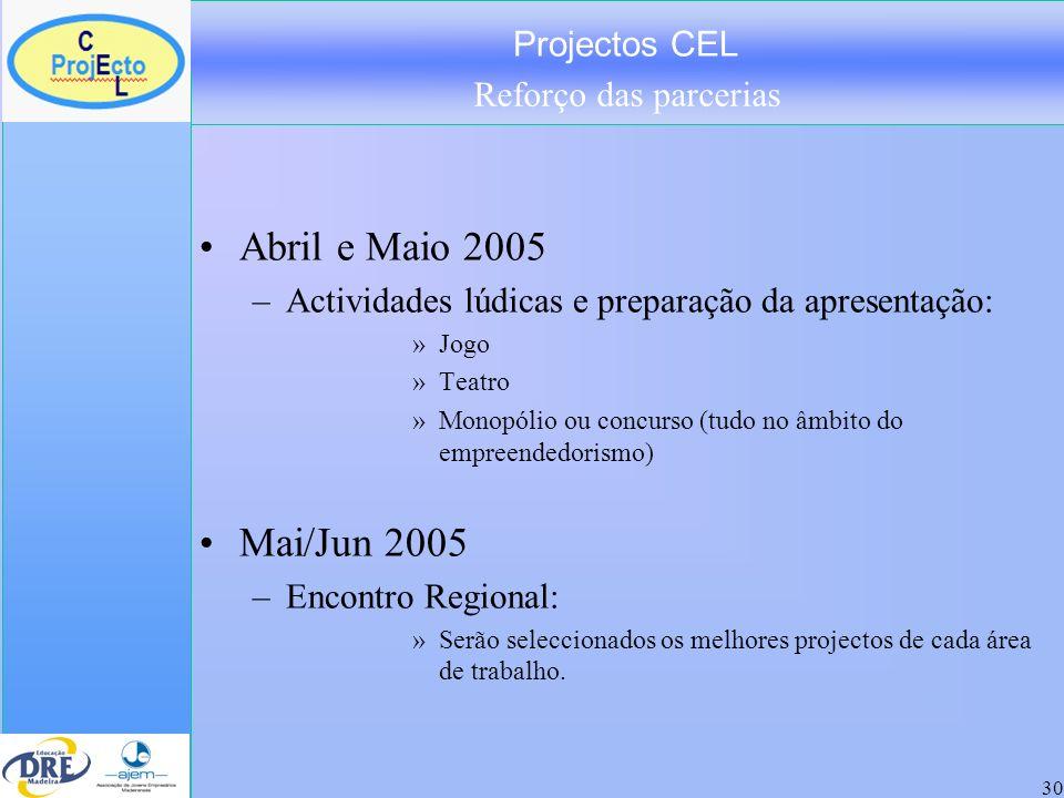 Projectos CEL Reforço das parcerias 30 Abril e Maio 2005 –Actividades lúdicas e preparação da apresentação: »Jogo »Teatro »Monopólio ou concurso (tudo