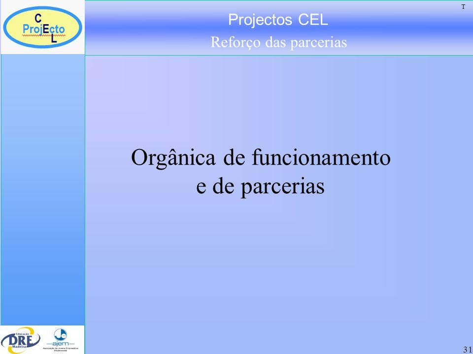 Projectos CEL Reforço das parcerias 31 Orgânica de funcionamento e de parcerias T