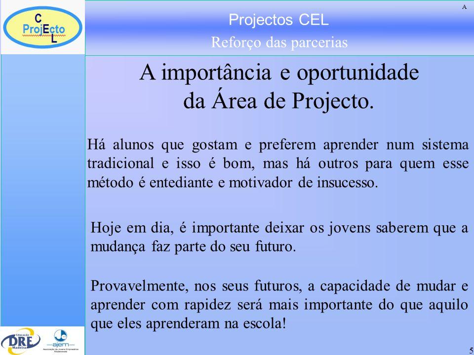 Projectos CEL Reforço das parcerias 5 Há alunos que gostam e preferem aprender num sistema tradicional e isso é bom, mas há outros para quem esse méto