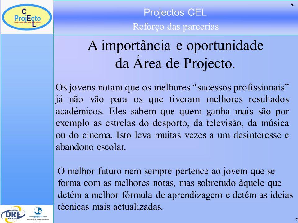 Projectos CEL Reforço das parcerias 7 Os jovens notam que os melhores sucessos profissionais já não vão para os que tiveram melhores resultados académ