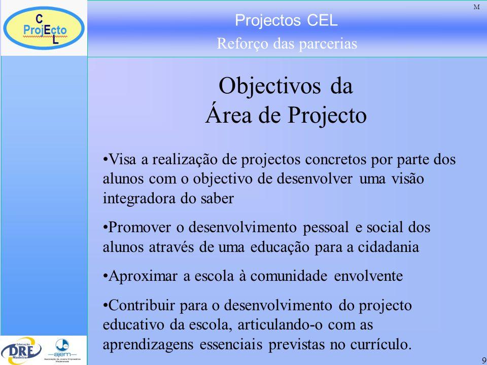 Projectos CEL Reforço das parcerias 9 Objectivos da Área de Projecto M Visa a realização de projectos concretos por parte dos alunos com o objectivo d