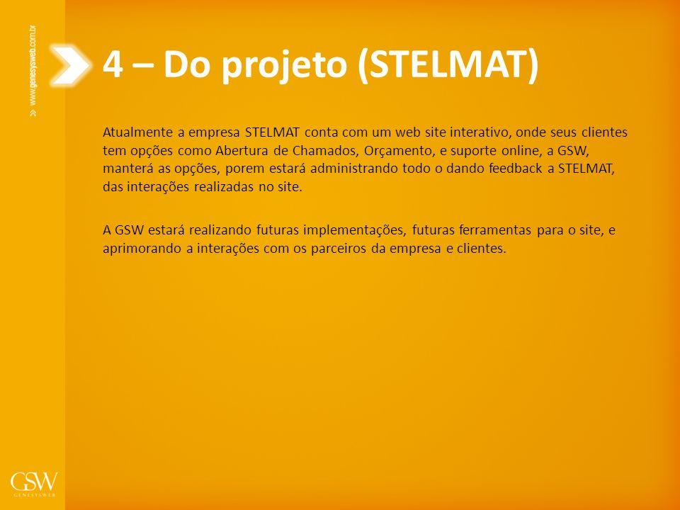 4 – Do projeto (STELMAT) Atualmente a empresa STELMAT conta com um web site interativo, onde seus clientes tem opções como Abertura de Chamados, Orçam