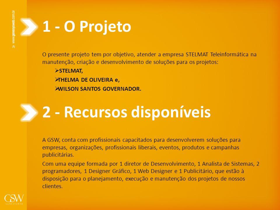 1 - O Projeto O presente projeto tem por objetivo, atender a empresa STELMAT Teleinformática na manutenção, criação e desenvolvimento de soluções para