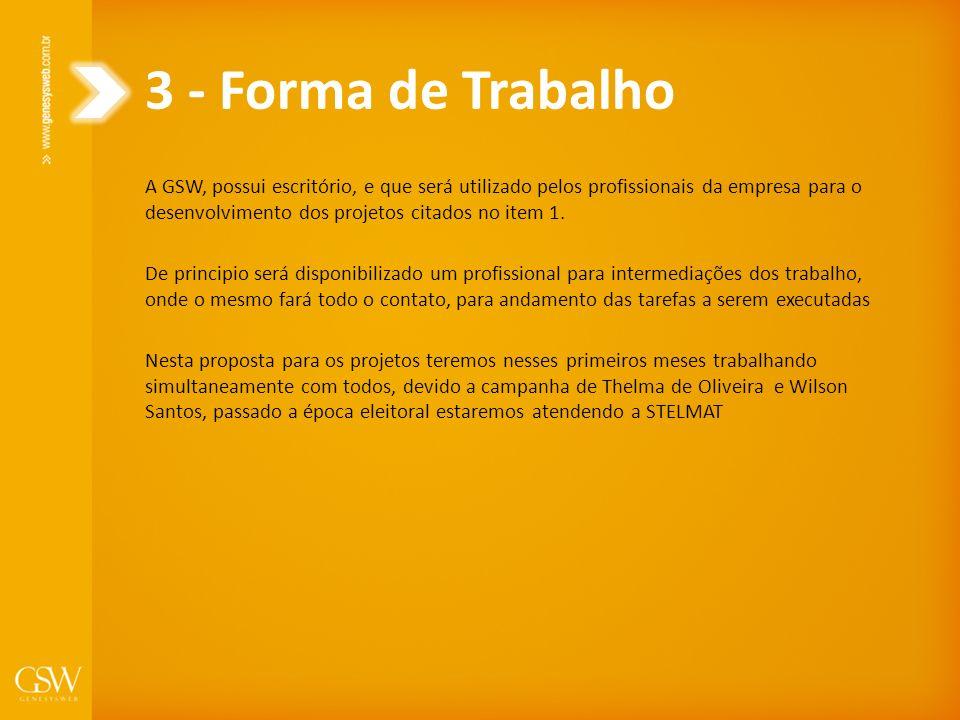 3 - Forma de Trabalho A GSW, possui escritório, e que será utilizado pelos profissionais da empresa para o desenvolvimento dos projetos citados no ite