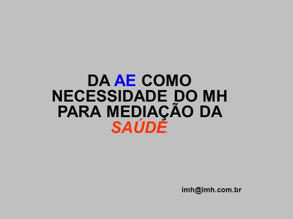 DA AE COMO NECESSIDADE DO MH PARA MEDIAÇÃO DA SAÚDE. imh@imh.com.br