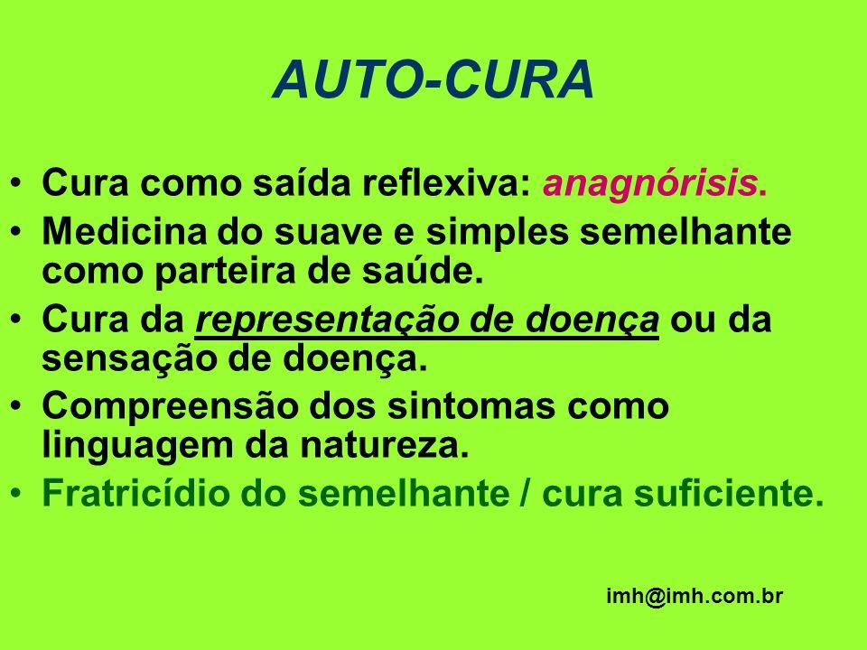 AUTO-CURA Cura como saída reflexiva: anagnórisis. Medicina do suave e simples semelhante como parteira de saúde. Cura da representação de doença ou da