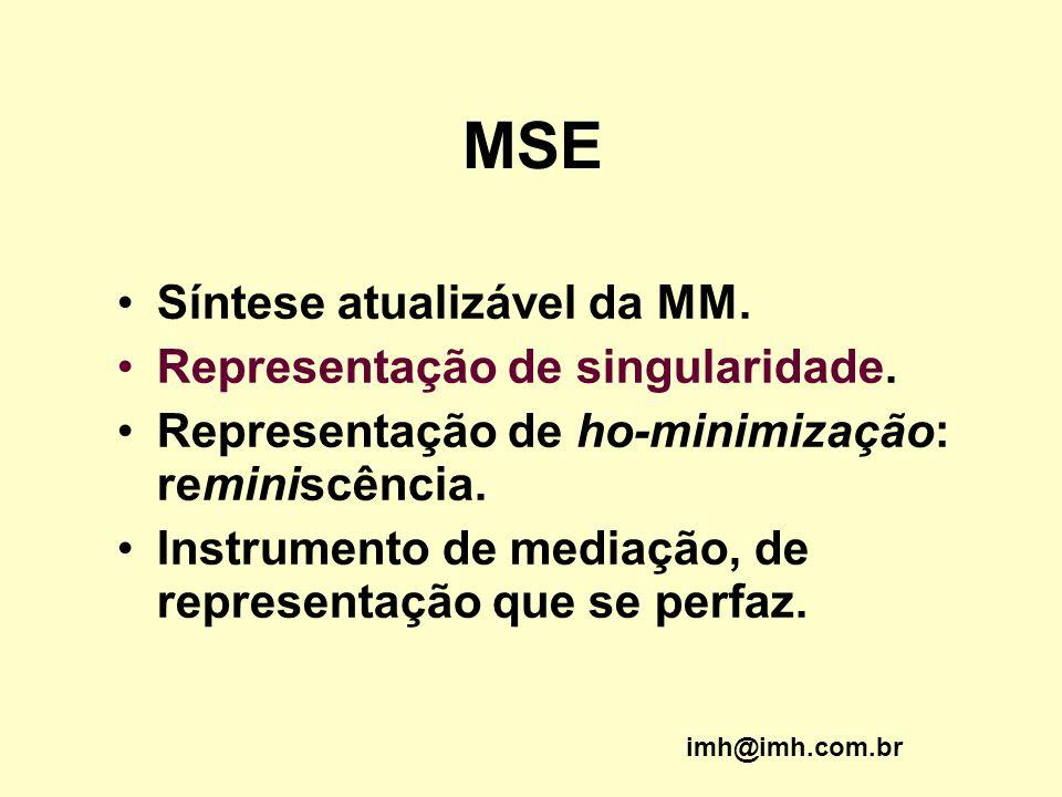 MSE Síntese atualizável da MM. Representação de singularidade. Representação de ho-minimização: reminiscência. Instrumento de mediação, de representaç