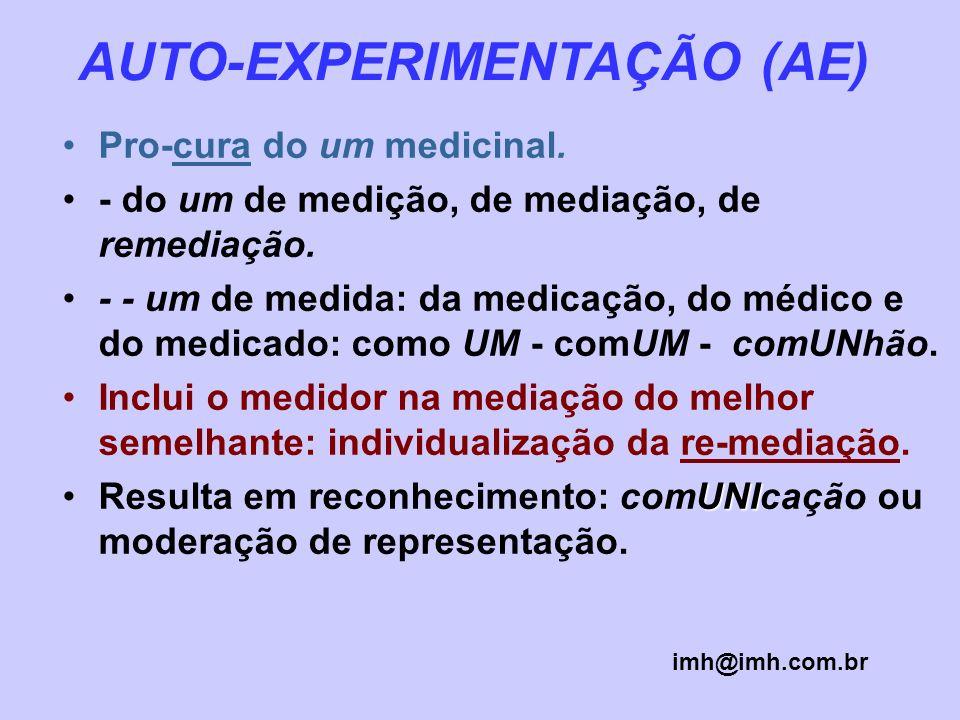 AUTO-EXPERIMENTAÇÃO (AE) Pro-cura do um medicinal. - do um de medição, de mediação, de remediação. - - um de medida: da medicação, do médico e do medi