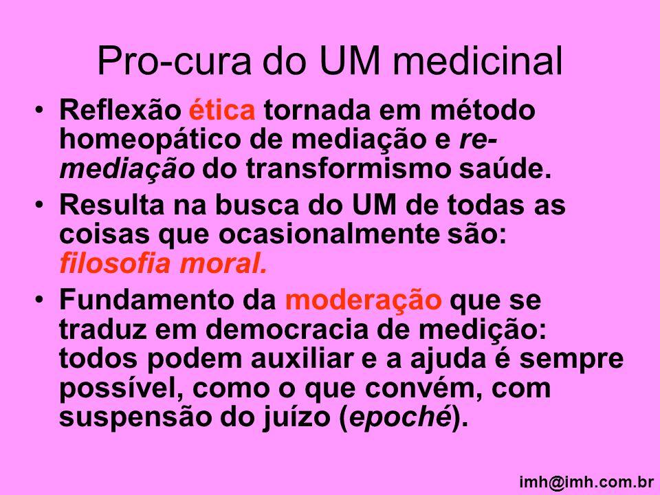 Pro-cura do UM medicinal Reflexão ética tornada em método homeopático de mediação e re- mediação do transformismo saúde. Resulta na busca do UM de tod