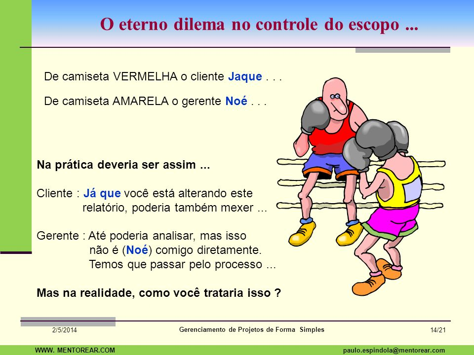 SAP Paulo Espindola 19 11 1960 paulo.espindola@mentorear.comWWW. MENTOREAR.COM Gerenciamento de Projetos de Forma Simples 2/5/2014 13/21 Controle e Mu