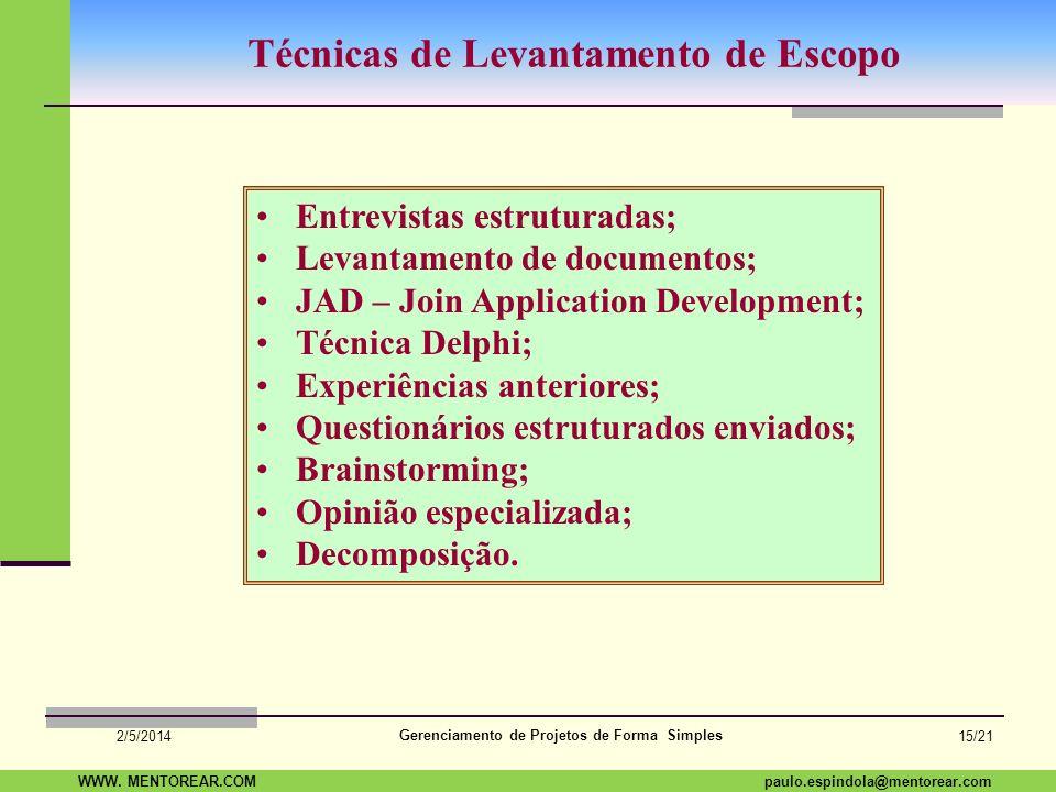 SAP Paulo Espindola 19 11 1960 paulo.espindola@mentorear.comWWW. MENTOREAR.COM Gerenciamento de Projetos de Forma Simples 2/5/2014 14/21 O eterno dile