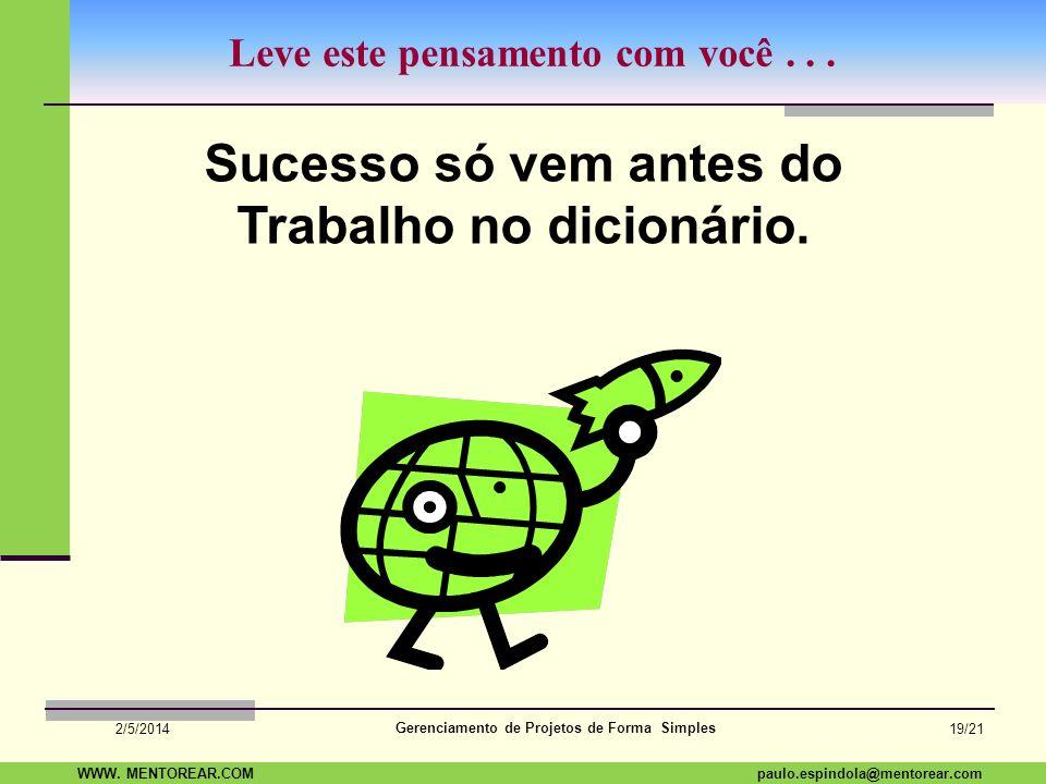 SAP Paulo Espindola 19 11 1960 paulo.espindola@mentorear.comWWW. MENTOREAR.COM Gerenciamento de Projetos de Forma Simples 2/5/2014 18/21 Dúvidas