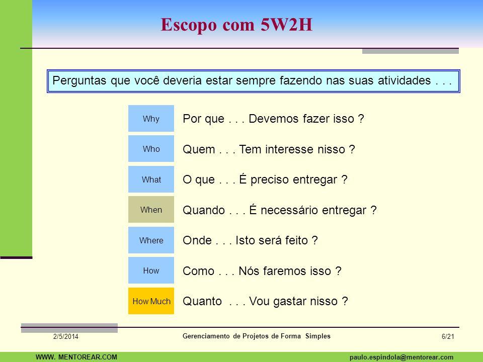 SAP Paulo Espindola 19 11 1960 paulo.espindola@mentorear.comWWW. MENTOREAR.COM Gerenciamento de Projetos de Forma Simples 2/5/2014 5/21 Restrição Trip
