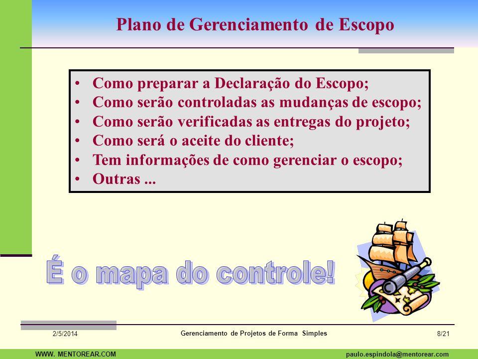SAP Paulo Espindola 19 11 1960 paulo.espindola@mentorear.comWWW. MENTOREAR.COM Gerenciamento de Projetos de Forma Simples 2/5/2014 7/21 Uma pergunta q