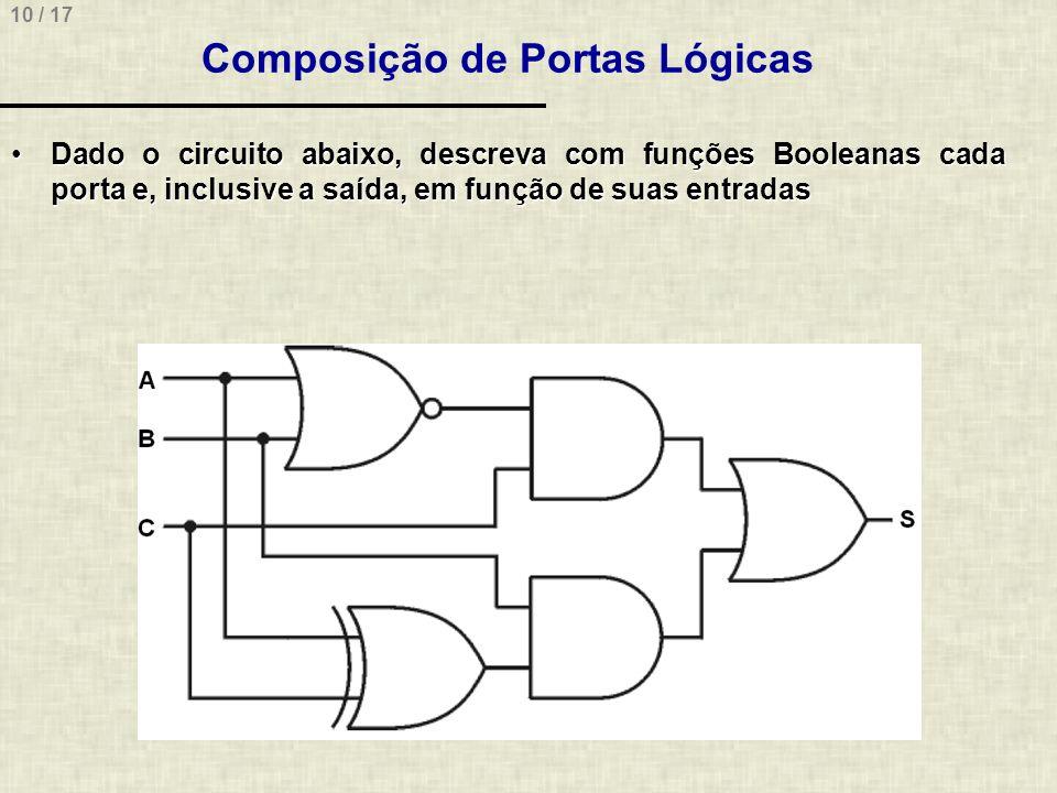 10 / 17 Composição de Portas Lógicas Dado o circuito abaixo, descreva com funções Booleanas cada porta e, inclusive a saída, em função de suas entrada