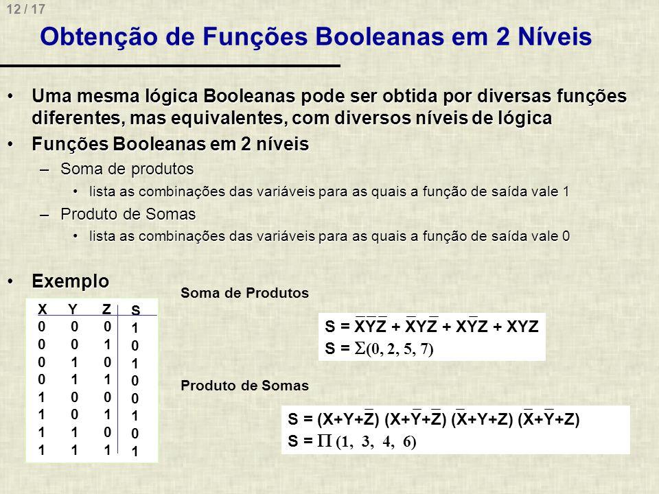 12 / 17 Obtenção de Funções Booleanas em 2 Níveis Uma mesma lógica Booleanas pode ser obtida por diversas funções diferentes, mas equivalentes, com di