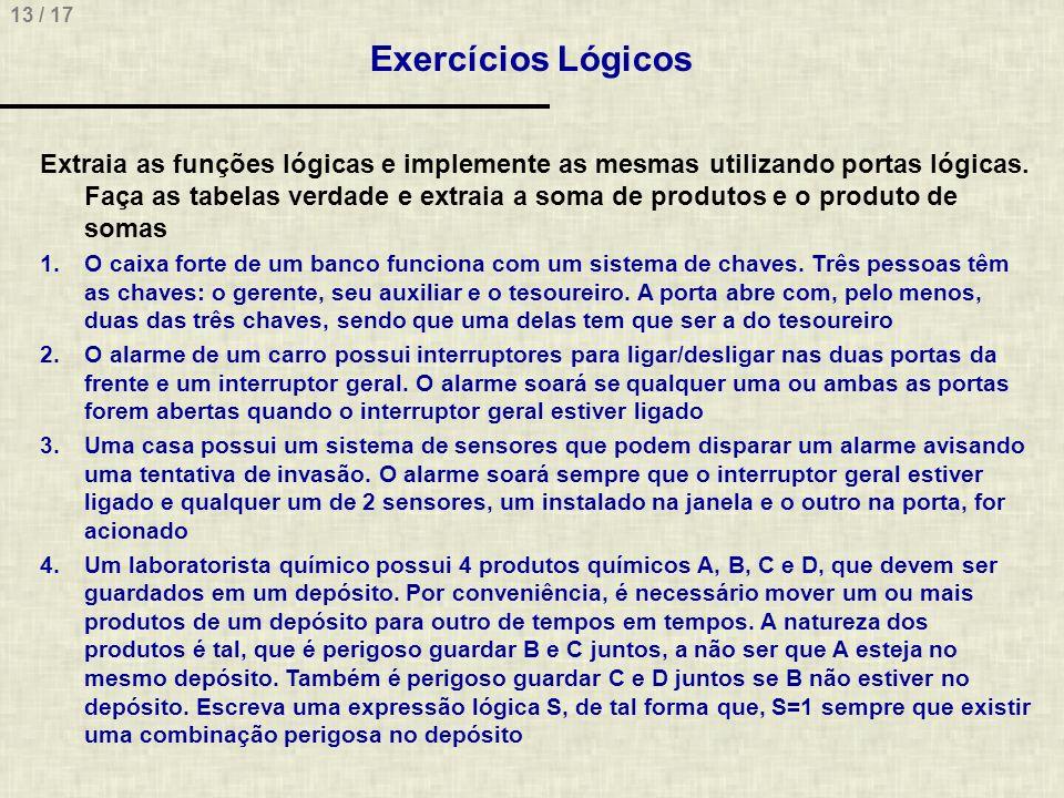 13 / 17 Exercícios Lógicos Extraia as funções lógicas e implemente as mesmas utilizando portas lógicas. Faça as tabelas verdade e extraia a soma de pr