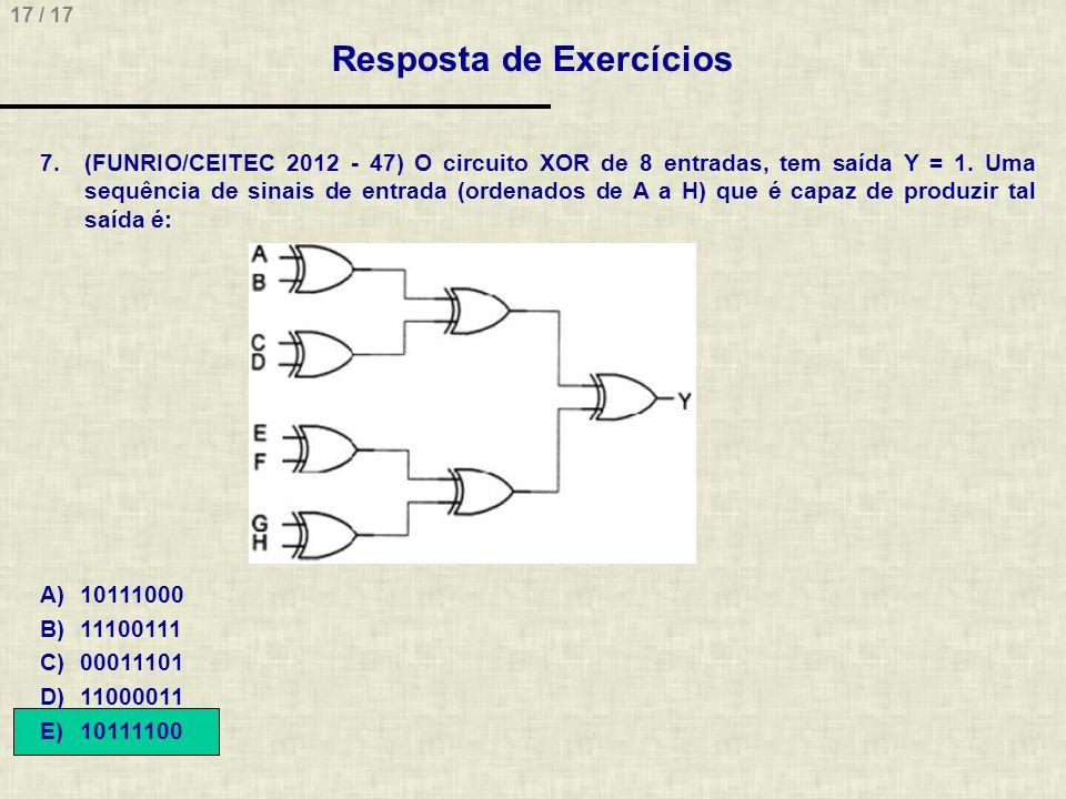 17 / 17 Resposta de Exercícios 7.(FUNRIO/CEITEC 2012 - 47) O circuito XOR de 8 entradas, tem saída Y = 1. Uma sequência de sinais de entrada (ordenado