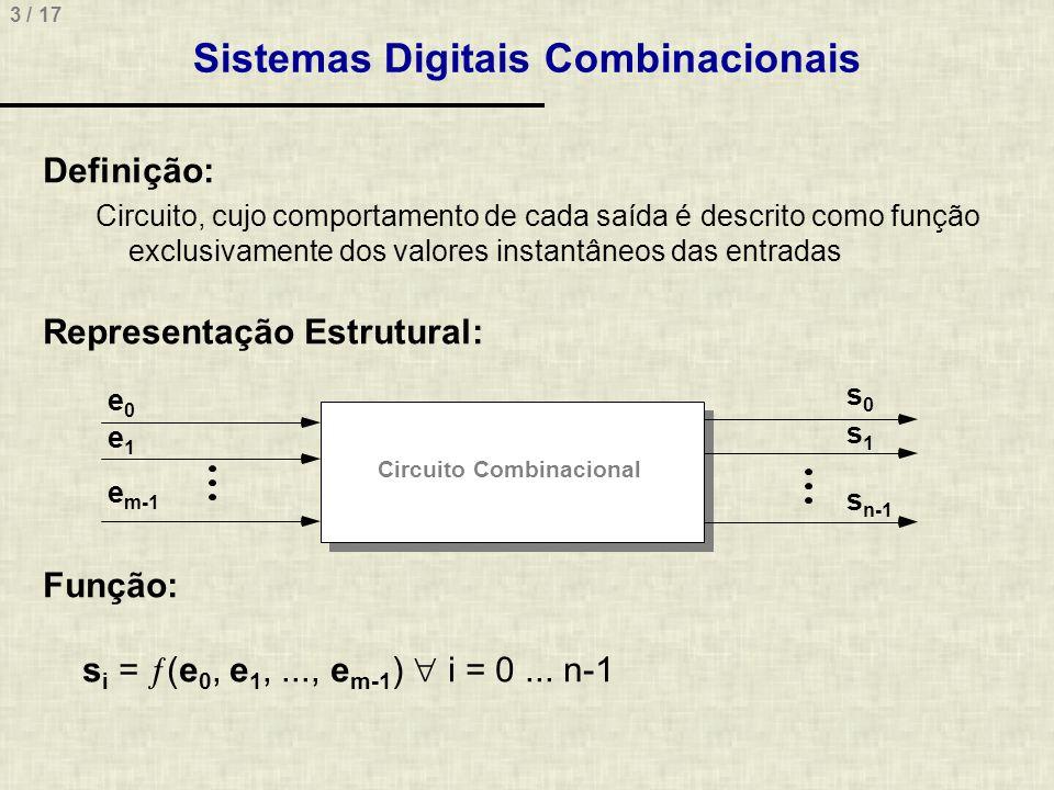 3 / 17 Sistemas Digitais Combinacionais Definição: Circuito, cujo comportamento de cada saída é descrito como função exclusivamente dos valores instan
