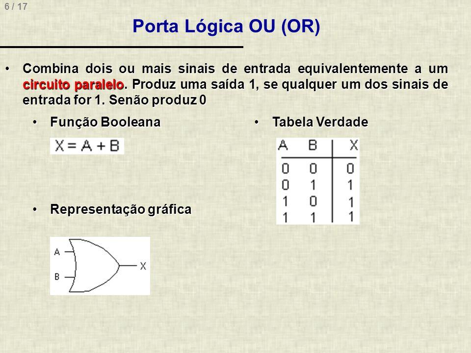 6 / 17 Porta Lógica OU (OR) Combina dois ou mais sinais de entrada equivalentemente a um circuito paralelo. Produz uma saída 1, se qualquer um dos sin