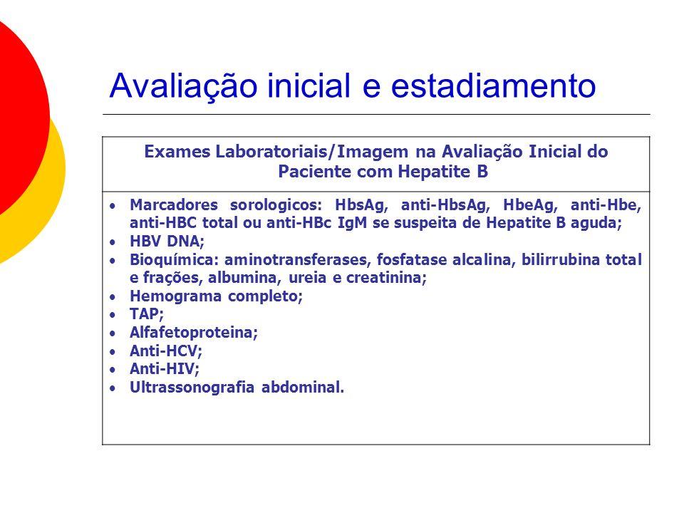 Avaliação inicial e estadiamento Exames Laboratoriais/Imagem na Avaliação Inicial do Paciente com Hepatite B Marcadores sorologicos: HbsAg, anti-HbsAg, HbeAg, anti-Hbe, anti-HBC total ou anti-HBc IgM se suspeita de Hepatite B aguda; HBV DNA; Bioquímica: aminotransferases, fosfatase alcalina, bilirrubina total e frações, albumina, ureia e creatinina; Hemograma completo; TAP; Alfafetoproteina; Anti-HCV; Anti-HIV; Ultrassonografia abdominal.