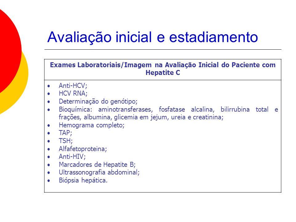 Avaliação inicial e estadiamento Exames Laboratoriais/Imagem na Avaliação Inicial do Paciente com Hepatite C Anti-HCV; HCV RNA; Determinação do genótipo; Bioquímica: aminotransferases, fosfatase alcalina, bilirrubina total e frações, albumina, glicemia em jejum, ureia e creatinina; Hemograma completo; TAP; TSH; Alfafetoproteina; Anti-HIV; Marcadores de Hepatite B; Ultrassonografia abdominal; Biópsia hepática.