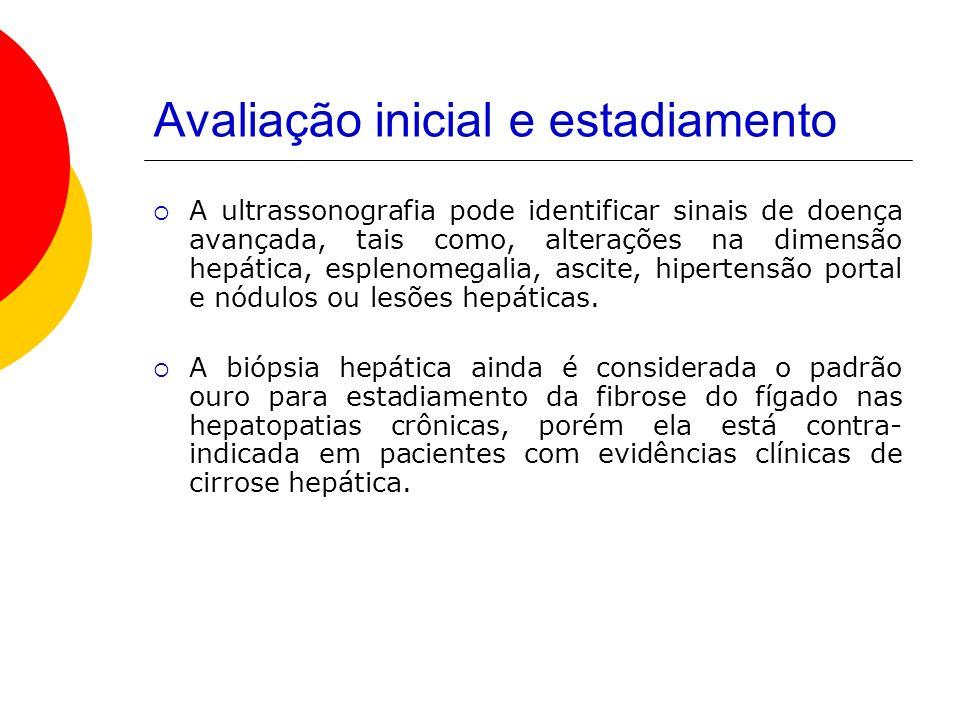 Avaliação inicial e estadiamento A ultrassonografia pode identificar sinais de doença avançada, tais como, alterações na dimensão hepática, esplenomegalia, ascite, hipertensão portal e nódulos ou lesões hepáticas.