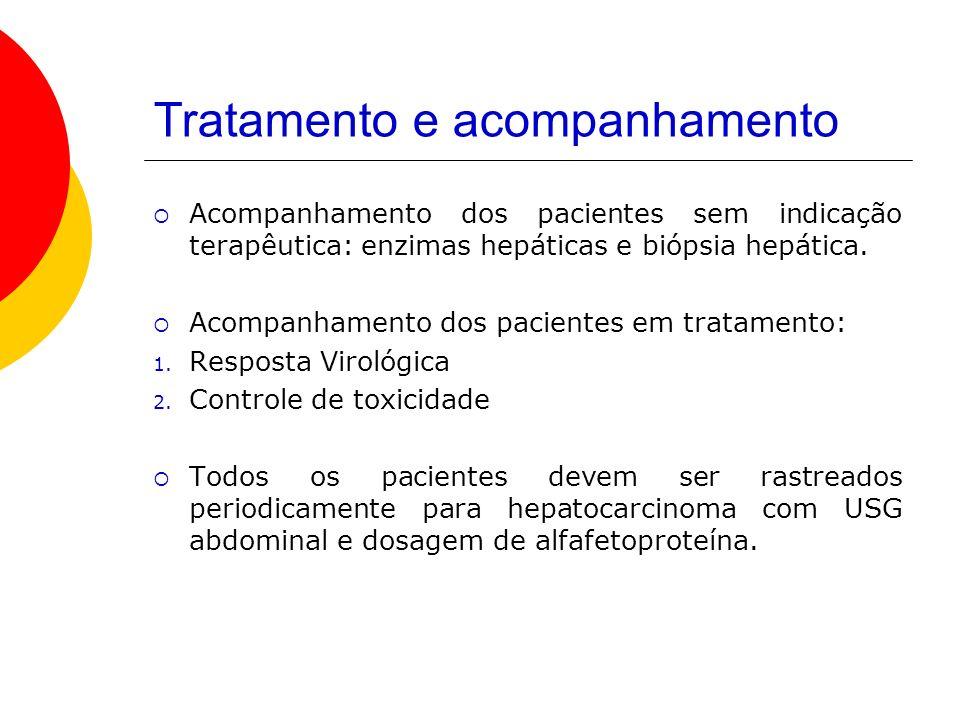 Tratamento e acompanhamento Acompanhamento dos pacientes sem indicação terapêutica: enzimas hepáticas e biópsia hepática.
