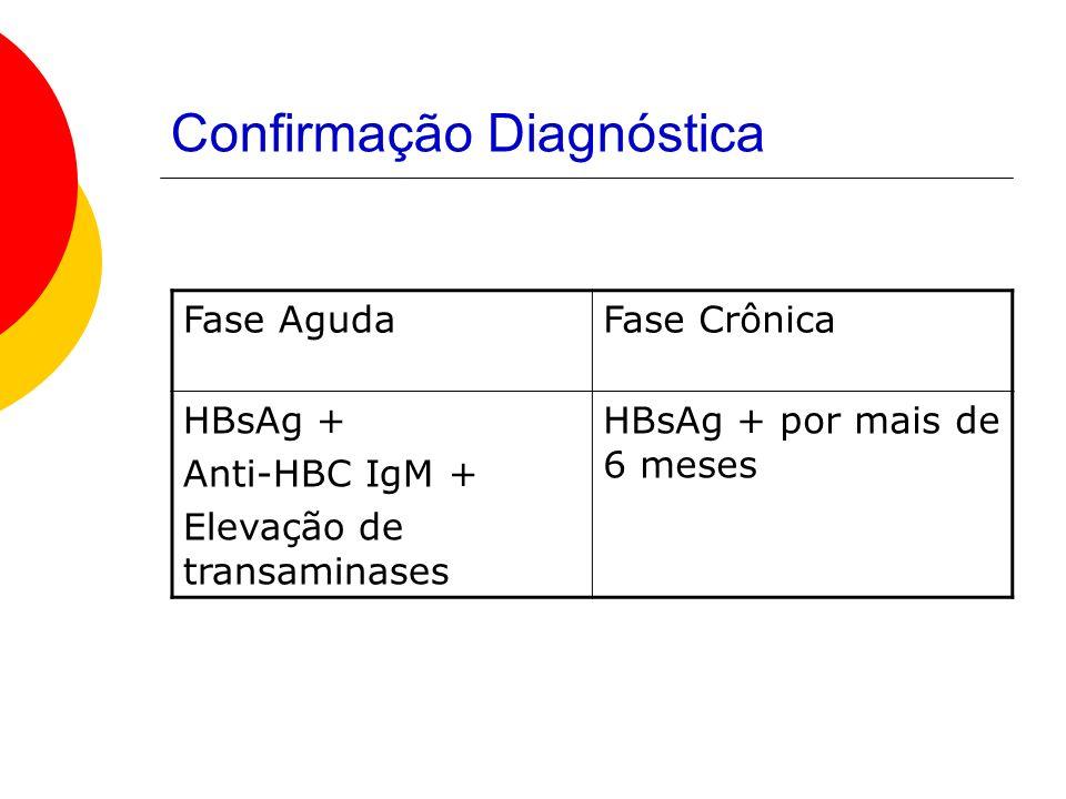 Confirmação Diagnóstica Fase AgudaFase Crônica HBsAg + Anti-HBC IgM + Elevação de transaminases HBsAg + por mais de 6 meses