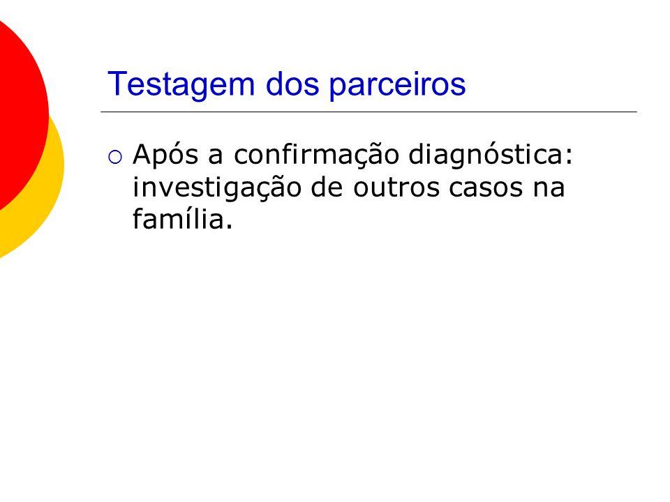 Testagem dos parceiros Após a confirmação diagnóstica: investigação de outros casos na família.