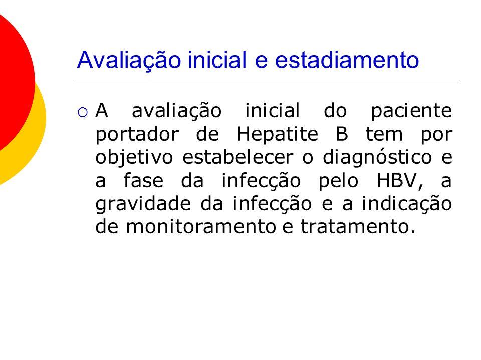 Avaliação inicial e estadiamento A avaliação inicial do paciente portador de Hepatite B tem por objetivo estabelecer o diagnóstico e a fase da infecção pelo HBV, a gravidade da infecção e a indicação de monitoramento e tratamento.
