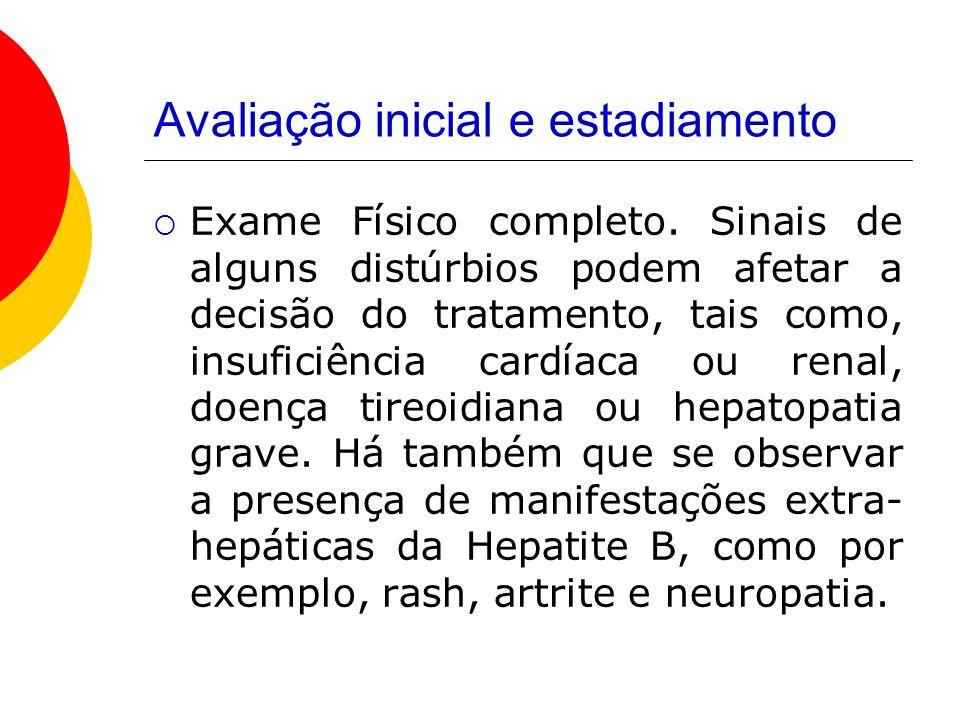 Avaliação inicial e estadiamento Exame Físico completo.