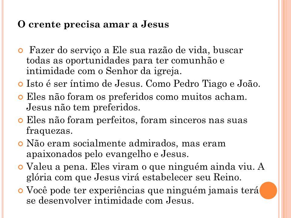 O crente precisa amar a Jesus Fazer do serviço a Ele sua razão de vida, buscar todas as oportunidades para ter comunhão e intimidade com o Senhor da i